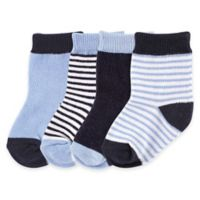 BabyVision® Luvable Friends® Size 12-24M 4-Pack Basic Socks in Dark Blue