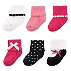 BabyVision® Luvable Friends® Size 0-6M 6-Pack Dressy Socks in Dark Pink/Black