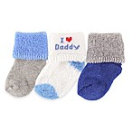BabyVision® Luvable Friends® Size 0-3M 3-Pack  I Love Daddy  Socks in Blue
