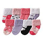 BabyVision® Luvable Friends® Size 0-3M 8-Pack Shoe Socks in Pink