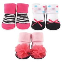 BabyVision® Luvable Friends® Size 0-6M 3-Pack Sock Gift Set in Pink/Black/White