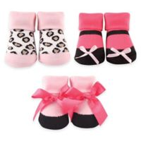 BabyVision® Luvable Friends® Size 0-6M 3-Pack Leopard Sock Gift Set in Pink