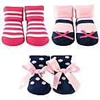 BabyVision® Luvable Friends® Size 0-6M 3-Pack Sock Gift Set in Pink/Navy