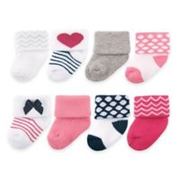 BabyVision® Luvable Friends® Size 0-9M 8-Pack Baby Socks in Pink