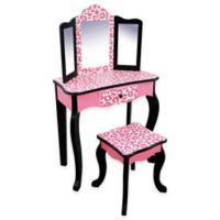 Teamson Kids Pink Leopard Vanity Table and Stool Set