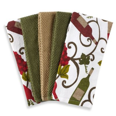 Wine 5 Pack Kitchen Towel Set In Green White