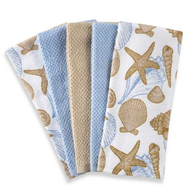 Shell 5 Pack Kitchen Towel Set In Blue/White