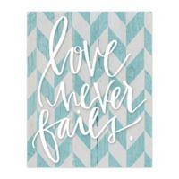 """Love Never Fails"" 16-Inch x 20-Inch Canvas Wall Art"