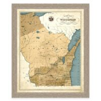 Map of Wisconsin Framed Print