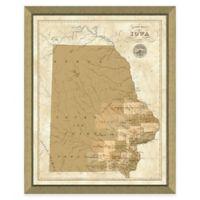 Map of Iowa Framed Print