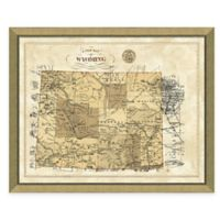 Map of Wyoming Framed Print