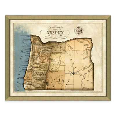 Map of Oregon Framed Print