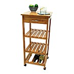 Lipper International Bamboo Rolling Cart with Wine Rack