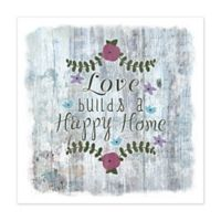 """Happy Home"" 12-Inch x 12-Inch Canvas Wall Art"