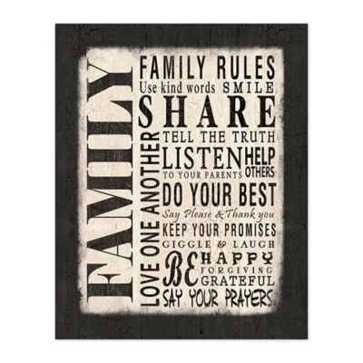 Family Rules 8 Inch X 10 Inch Canvas Wall Art