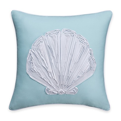 Bed Bath And Beyond Blue Throw Pillows : Coastal Life Luxe Sonoma Seashell Throw Pillow in Sky - Bed Bath & Beyond