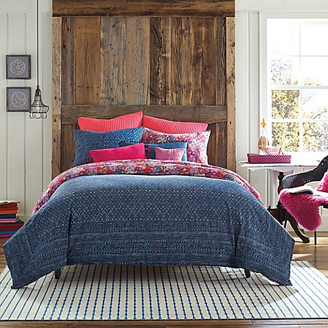 Anthology Happy Indigo Reversible Duvet Cover Set Bed