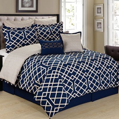 cathay home demetri 8 piece reversible comforter set in bluecream - Navy Bedding