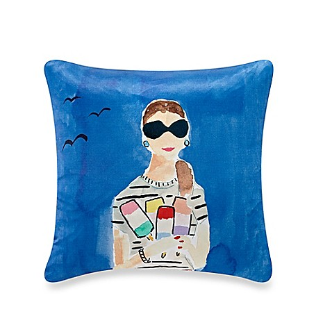 Kate spade new york beach day throw pillow in blue bed for Bed bath and beyond kate spade