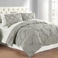 Pintuck Twin Comforter Set In Grey