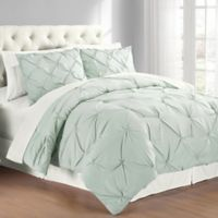 Pintuck King Comforter Set in Mist Blue