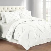 Pintuck Twin Comforter Set in White