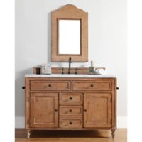James Madison Furniture Copper Cove Single Vanity with Carrara White Stone Top in Driftwood