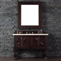Balmoral 48-Inch Antique Walnut Single Vanity with Double Doors and Galala Beige Stone Top