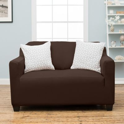 Stretch Fit Protective Twill Loveseat Slipcover In Mocha