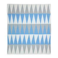 Weegoamigo Carousel Cotton Knit Baby Blanket in Blue