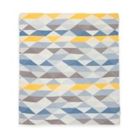 Weegoamigo Geo Rayon Made from Bamboo/Cotton Knitted Baby Blanket in Blue