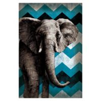 Pied Piper Creative Funky Blue Chevron Elephant 32-Inch x 48-Inch Canvas Wall Art