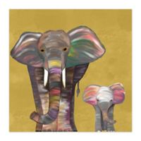 Mama and Baby Elephant 16-Inch x 16-Inch Canvas Wall Art