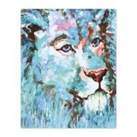 Pied Piper Creative Blue Lion 16-Inch x 20-Inch Canvas Wall Art