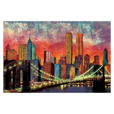 Pied piper creative new york night skyline 36 inch x 24 inch canvas wall