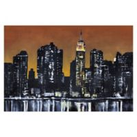 Pied Piper Creative Skyline River Light 48-Inch x 32-Inch Canvas Wall Art