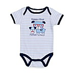babygear™ Size 3M  Happy First Father's Day!  Dog Bodysuit in White/Blue