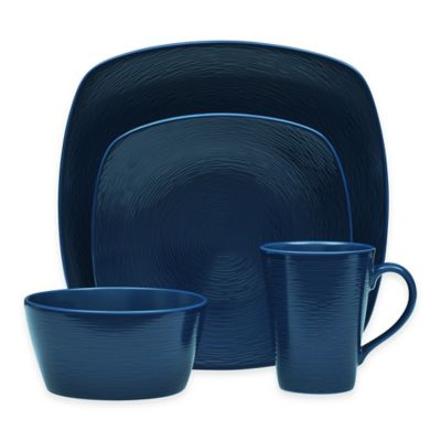 Noritake® Navy on Navy Swirl 4-Piece Square Place Setting  sc 1 st  Bed Bath u0026 Beyond & Buy Blue Square Dinnerware Sets from Bed Bath u0026 Beyond