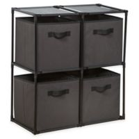 4-Cube Grid System with Fabric Bins in Grey