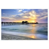 Pier on the Beach of Naples Photographic Canvas Wall Art