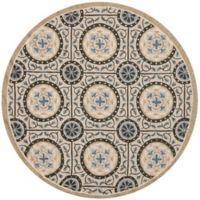 Safavieh Four Seasons Medallion Indoor/Outdoor 6-Foot Round Rug in Grey/Blue