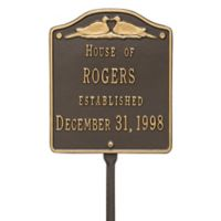 Whitehall Products Wedding Lawn Plaque with Bronze/Gold Finish