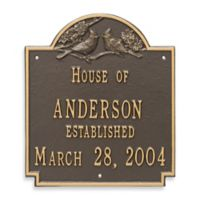 Whitehall Products Cardinal Wedding Plaque with Bronze/Gold Finish