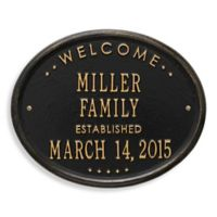 Whitehall Products Welcome House Plaque in Black/Gold Finish