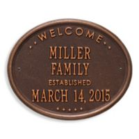 Whitehall Products Welcome House Plaque in Antique Copper Finish