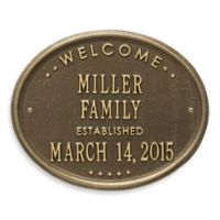 Whitehall Products Welcome House Plaque in Antique Brass Finish