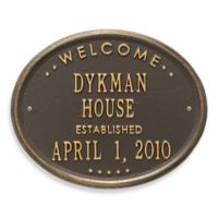 Whitehall Products Oval Welcome House Plaque with Bronze/Gold Finish