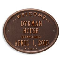 Whitehall Products Oval Welcome House Plaque with Copper Finish