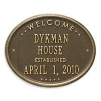 Whitehall Products Oval Welcome House Plaque with Brass Finish