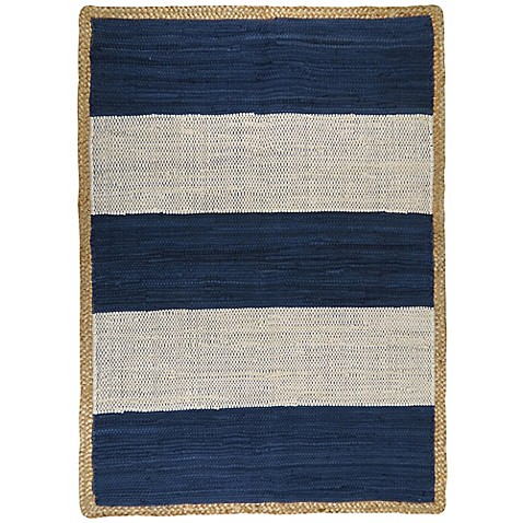 Park B Smith Karur Jute Border Area Rug In Navy Amp White